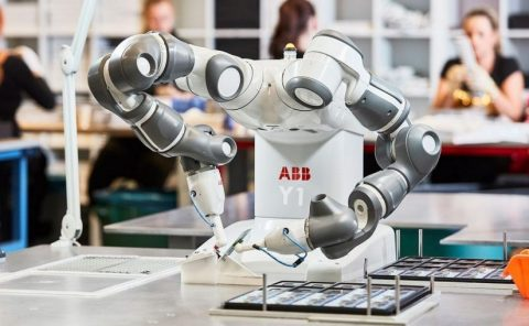 Industrial robots working with human side by side